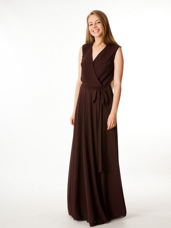 9f8e702693 Dark brown dress Wedding dress Bridesmaids Dress floor Spring
