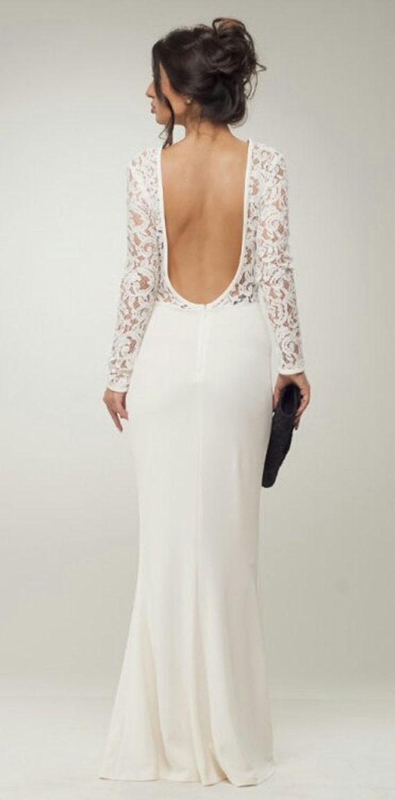 cheap for discount 0bc5e 6704b Lange Kleid weiß Kleid kombiniert Kleid Boden Spitze Maxi Kleid Abendkleid  offen zurück Kleid Elegant Kleid Anlass Kleid für die Frau