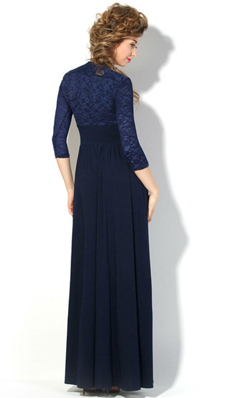 Dark Blue Dress Long Woman Dress Floor Autumn Dress Spring Etsy