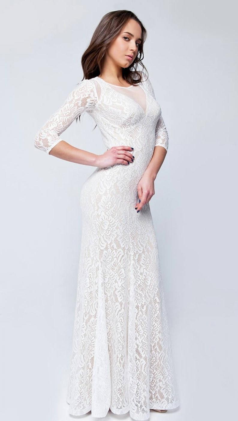 5950c78a240d98 Hochzeitskleid formale Kleid Mode lange kleid enden weißes | Etsy