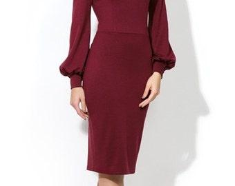 Burgundy Elegant dress Formal dress Wedding dress for woman knee length dress Maroon dress Office Business clothes Evening Dress Prom dress