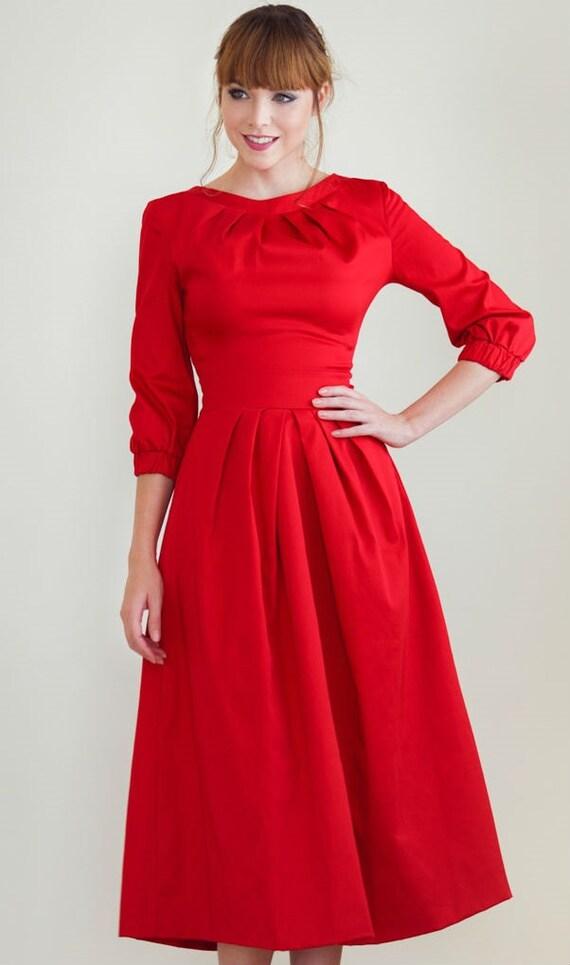 Rot Midi Kleid stilvollen roten Kleid Elegant Kleid Baumwolle