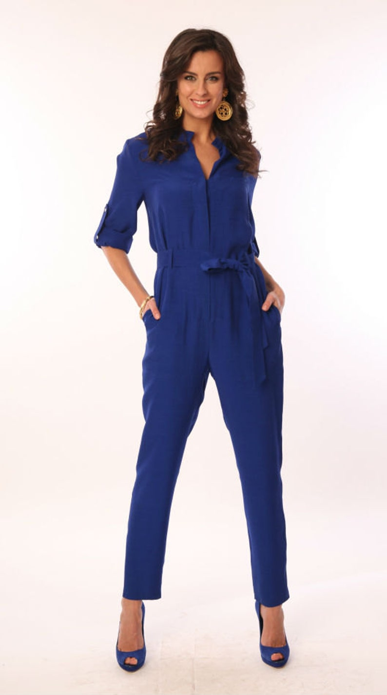 Royal blue overalls Woman business clothes Casual wear  54286c5ae
