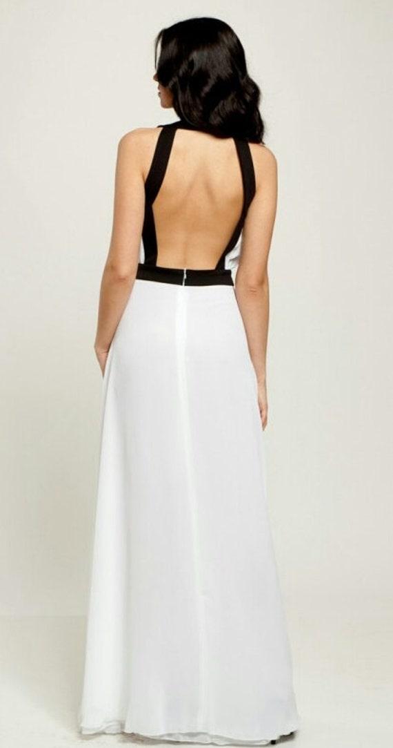 Elegantes weißes Kleid Abendkleid Hochzeit lange Kleid   Etsy f969d8f385