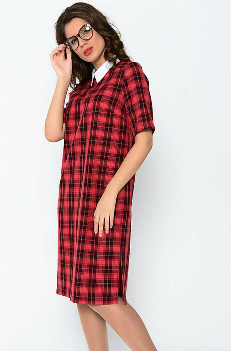 d0bc97c5c1e Robe écossaise rouge robe rouge femmes Casual robe à carreaux