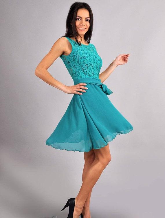 Aqua Blue Wedding Dress Chiffon bow Dress Lace Dress Circle Skirt Engagement Dress cocktail dress party dress turquoise bridesmaid dress