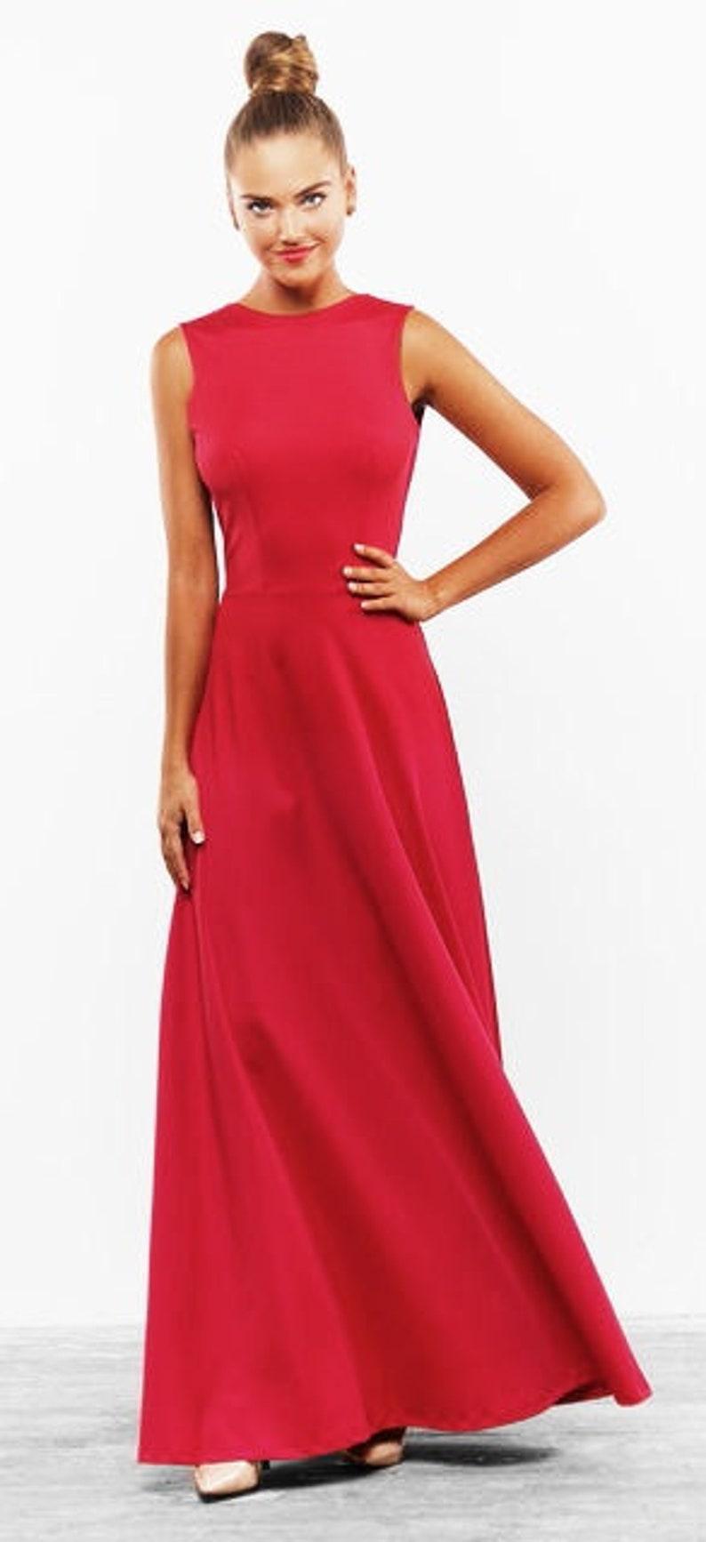 Langes rotes Kleid elegante Kleid Boden Hochzeit Maxi