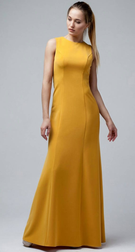 Maxi Woman Dress Yellow Mustard Dress Casual Dress Floor Etsy