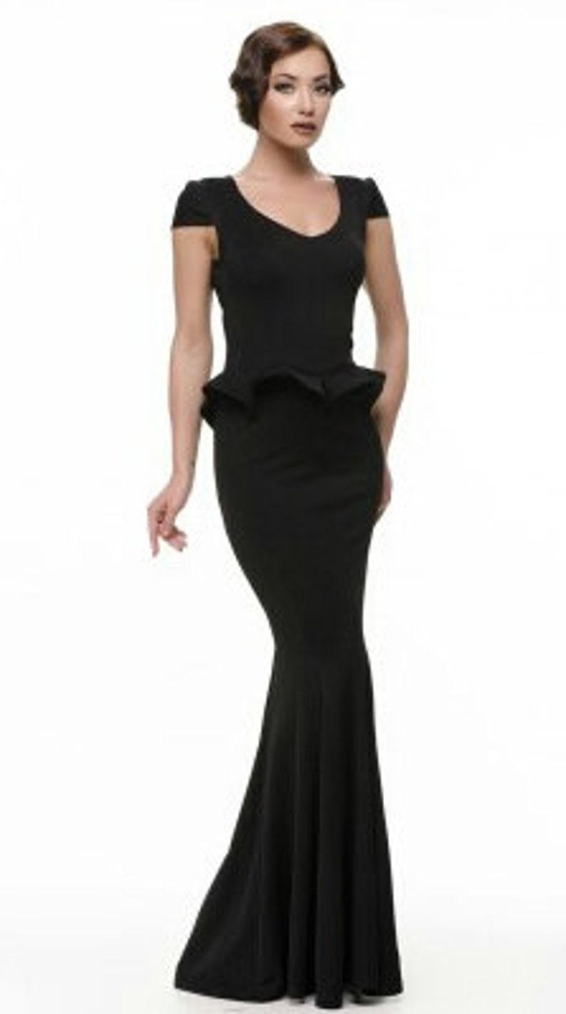 de6dad07df9 Elegant black dress floor Long black dress Basques Occasion