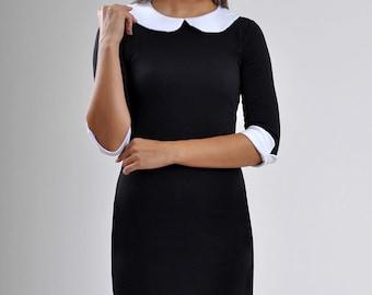 Black mini dress Short sleeve Peter pan collar Dress day classic dress contrast color LBD  Spring dress Аutumn dress winter dress