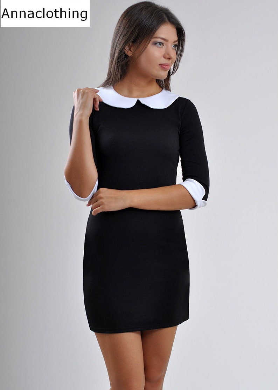 05e20a00166 Noir mini robe à manches courtes Robe col Claudine jour robe
