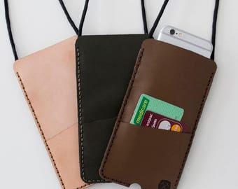 Leather iPhone Sleeve PLUS - DIY kit - Leather iPhone Plus Case - Sleeve Style - iPhone 5 Case - iPhone 6 Case - iPhone 7 Case - Craft Kit