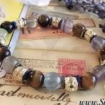 Tigerseye Fluorite Hematite Healing Crystal Bracelet