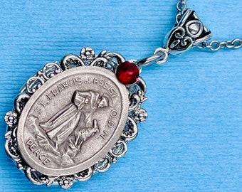 Heal My Pet St Protect My Pet St Francis Necklace Francis Locket Patron Saint of Animals Animal Lover Gift Saint Francis w-Dog Locket