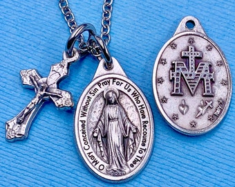 Our Lady of the Miraculous Medal Necklace Miraculous Necklace Miraculous Rose Medal Stainless Steel Chain Choice Gift Box