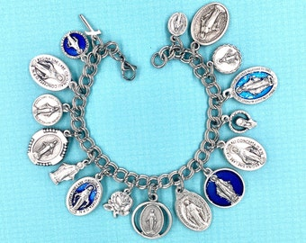 16 Miraculous Medals,Miraculous Charm Bracelet,Our Lady of the Miraculous Medal Bracelet,Our Lady of the Miracle Bracelet,Pewter Initial