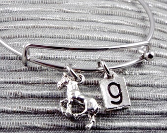 Pewter 3D Clydesdale bangle,Clydesdale stainless steel bangle, Clydesdale Horse charm,Clydesdale bracelet,Hose charm bangle initial