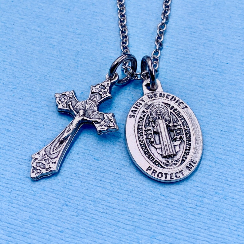 St Benedict Necklace Crucifix Necklace St Benedict Protection Necklace St Benedict Medal Stainless Chain Choice Gift Box