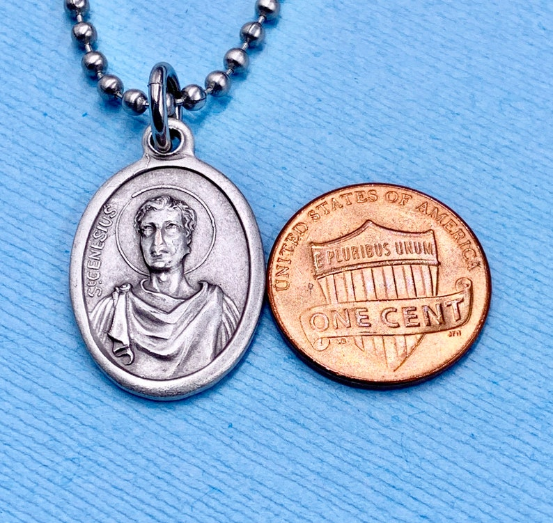 St Genesius Necklace St Genesius is Patron Saint of Clowns Comedians Dance Musicians Lawyers Epilepsy Stainless Steel Chain Choice