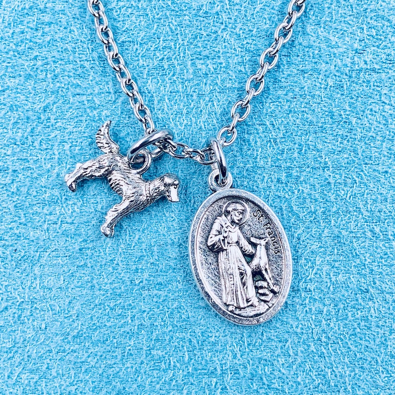 St Francis Necklace,St Francis Golden Retriever Necklace,St Francis Bless  and Protect My Pet Medal,Golden Retriever Charm,Pet Necklace