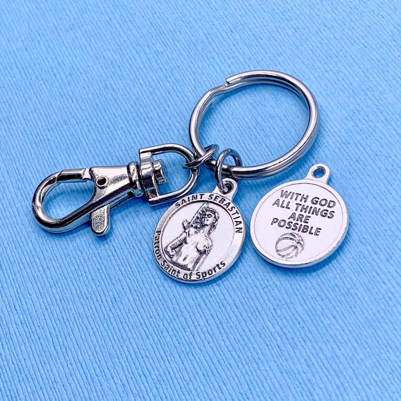 Basketball,St Sebastian Key Ring St Sebastian Basketball Medal,With God All Things Are Possible Basketball Medal Key Ring Clip On