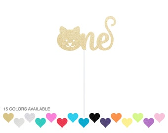One Cat Cake Topper First Birthday Decor