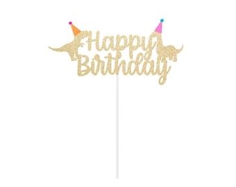 Dinosaur Birthday Cake Topper - Dino Topper - Girl's or Boy's Party Decor Sign Centerpiece - Party Animal