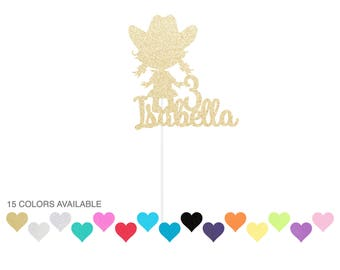Custom Cowgirl Birthday Cake Topper - Cowgirl Cake Topper - any color glitter