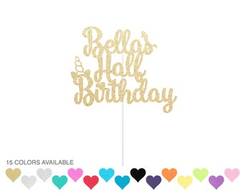 Personalized Unicorn Half Birthday Cake Topper - 1/2 Cake Topper - 6 months