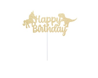 Dinosaur Unicorn Birthday Cake Topper - Unicorn Dino Party - Sign Centerpiece