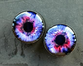 "Pair eyeball image ear plugs wooden tunnels 4,5,6,8,10,12,14,16,18,20,22,25-60mm;6g,4g,2g,0g,00g;1/4,5/16,3/8,1/2,9/16,5/8,3/4,7/8,1 1/4,1"""