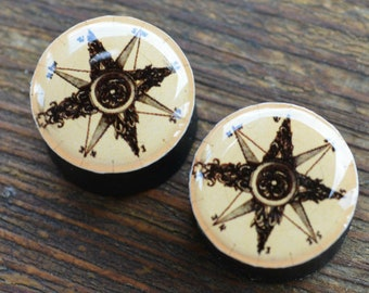 916 13mm 14mm 12 Ear Gauges Compass Rose Surgical Steel Plugs 2g 0g 00g 716 11mm