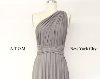 da9fd45a5de Silver Light Grey LONG Maxi Infinity Dress Gown Convertible Formal Multiway  Wrap Dress Bridesmaid Dress Evening Dress Toga Dress