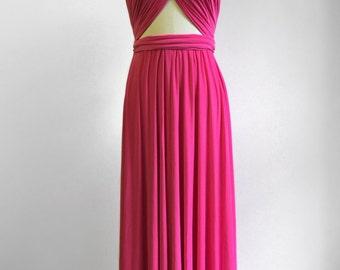 Hot Pink LONG Floor Length Ball Gown Infinity Dress Convertible Formal  Multiway Wrap Dress Bridesmaid Dress Party Evening Dress 8cebec04c6bb