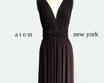 7cf56202ad0 Chocolate Dark Brown SHORT Infinity Dress Convertible Formal Multiway Wrap Dress  Bridesmaid Dress Toga Cocktail Evening Dress
