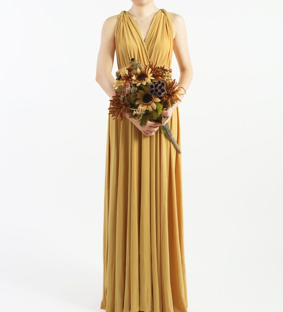 Mustard Yellow Floor Length Infinity Dress Convertible Formal Etsy