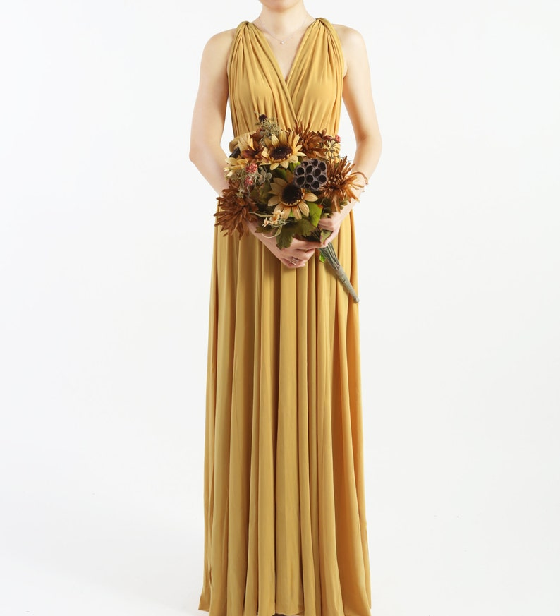806ab42180 Mustard Yellow FLOOR LENGTH Infinity Dress Convertible Formal