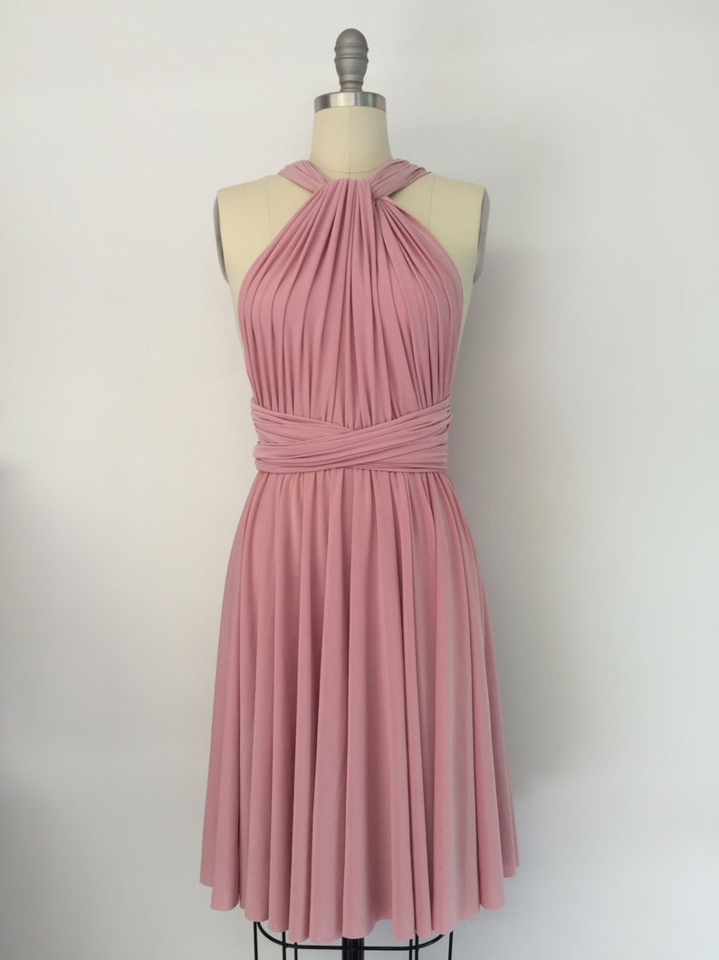 f83c523962 Rose Pink SHORT Knee Length Infinity Dress Convertible Formal Multiway Wrap  Dress Bridesmaid Dress Party Dress Evening Dress Weddings