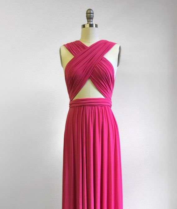 Hot Pink Short Infinity Dress Convertible Formal Multiway Wrap Etsy