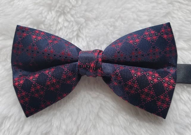 Red and Blue Checkered Men's Bow Tie - Pair with Atom Attire Dresses | Pre Tied | Wedding | Groomsmen | Best Man | Gift | Ideas for him