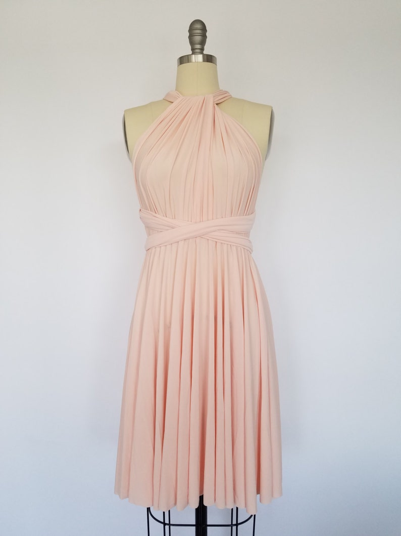 Blush Pink SHORT Infinity Dress Convertible Formal Multiway Wrap Dress  Bridesmaid Dress Toga Dress Cocktail Dress Evening Dress Wedding d04f0d221bd5