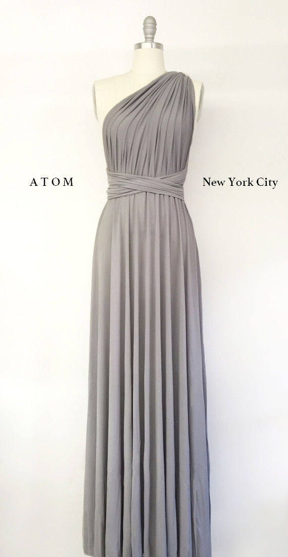 Silver Light Grey Long Maxi Infinity Dress Gown Convertible Etsy