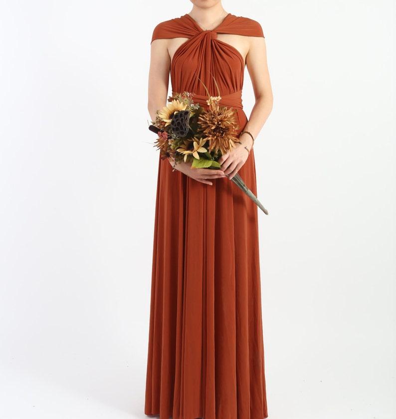 48dd10a617b Rust Burnt Orange Floor Length LONG Ball Gown Maxi Infinity