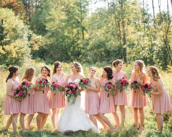 SHORT Knee Length Infinity Dress Convertible Formal Multiway Wrap Dress Bridesmaid Dress Toga Cocktail Evening Dress Wedding Party Dress
