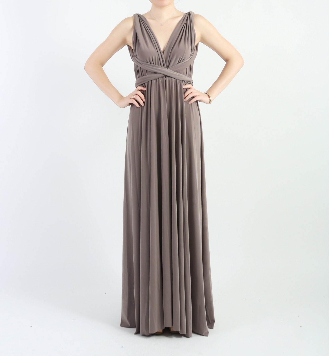 Taupe LONG Floor Length Ball Gown Infinity Dress Convertible   Etsy