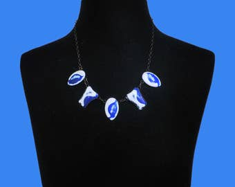 Vintage Mid Century Blue and White Enamel on Copper Necklace. handmade 1960s