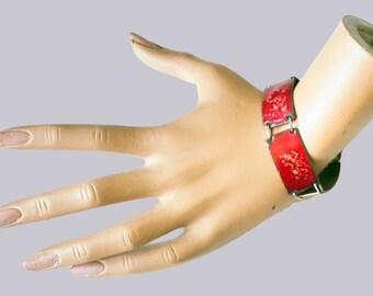 Handmade Enamel Link Bracelet 1950s