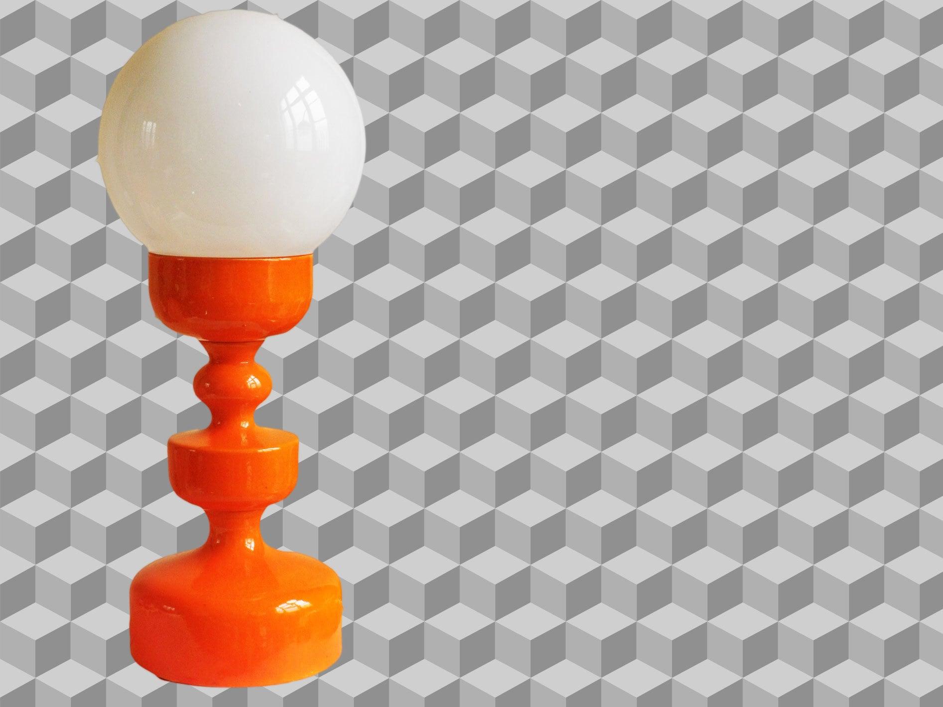 Vintage Orange Ceramic Table Lamp With Glass White Ball A Cari