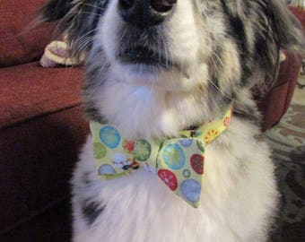 CLEARANCE Dog Bow Tie Adjustable Christmas Green with Snowflakes and Snowmen