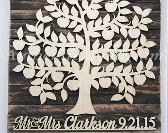 Wedding Guest Book Alternative Wood For up to 200 guest - Bridal Shower Gift, Wedding Guest Book Alternative , Custom Family Tree,